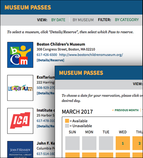 Assabet Interactive's two views of the museum pass module